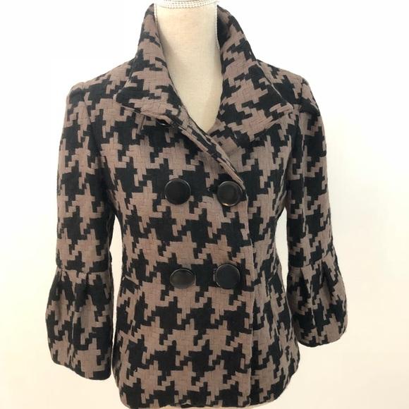 MAC & JAC Brown Black Cropped Houndstooth Jacket